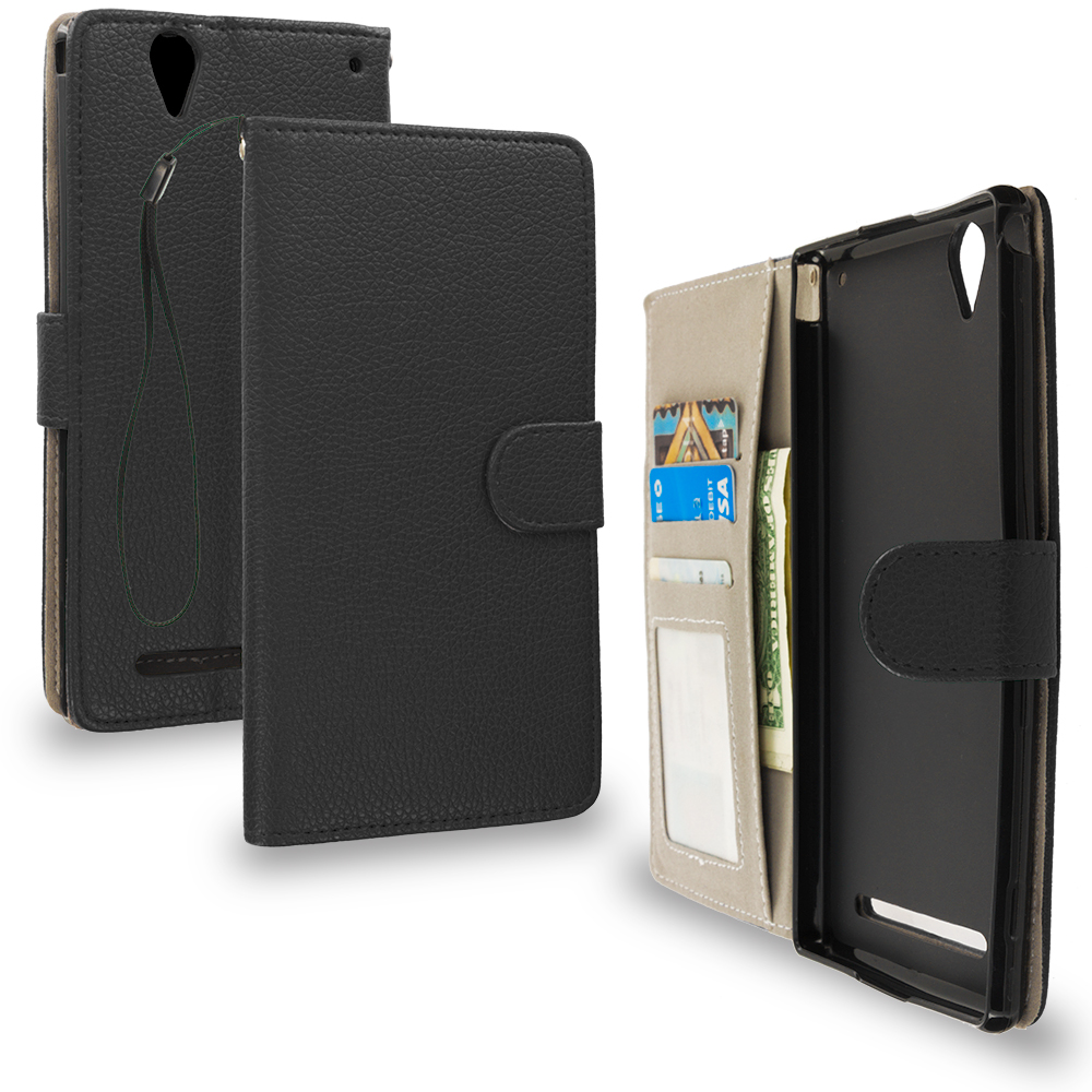 Sony Xperia T2 Ultra D5303 Black Leather Wallet Pouch Case Cover with Slots