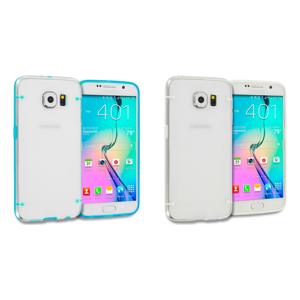 Samsung Galaxy S6 Combo Pack : Baby Blue Crystal Robot Hard TPU Case Cover