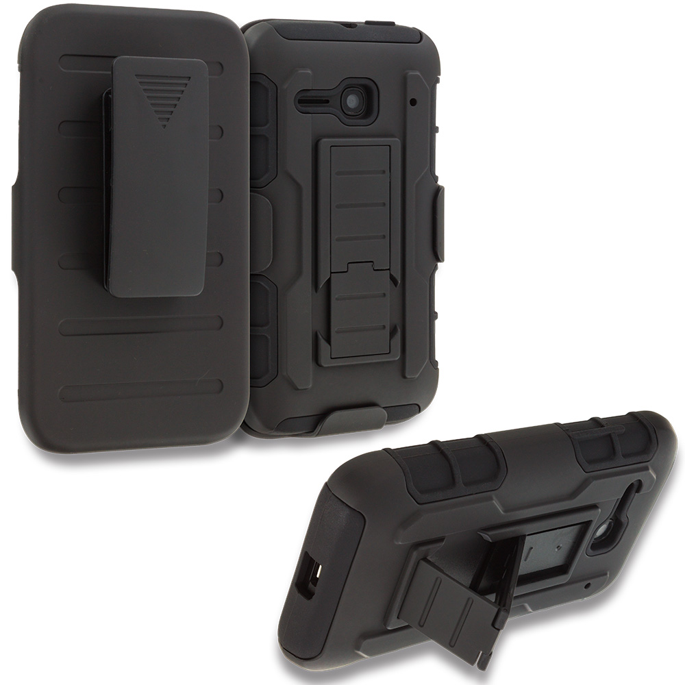 Alcatel One Touch Evolve 2 Black Hybrid Rugged Robot Armor Heavy Duty Case Cover with Belt Clip Holster