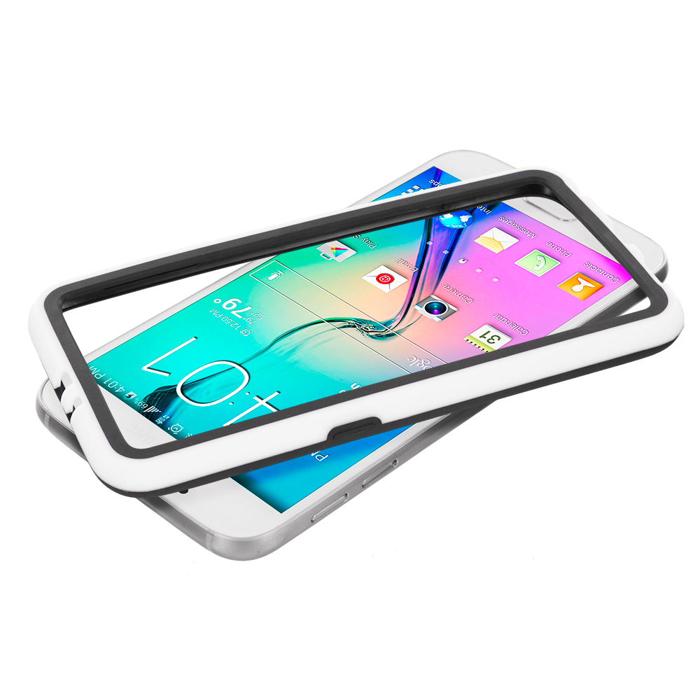 Samsung Galaxy S6 3 in 1 Combo Bundle Pack - TPU Bumper Frame with Metal Buttons : Color Black / White