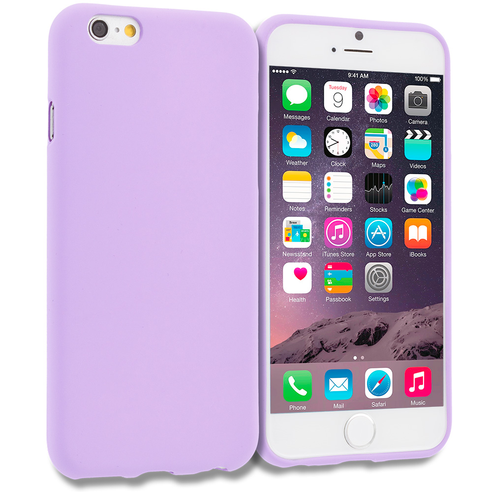 Apple iPhone 6 6S (4.7) Purple Plain TPU Rubber Skin Case Cover