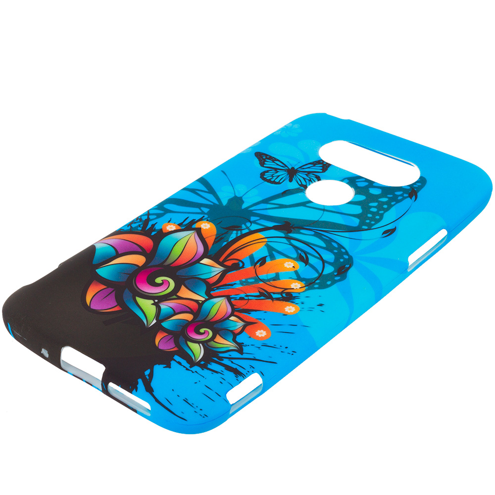 LG G5 Blue Butterfly Flower TPU Design Soft Rubber Case Cover