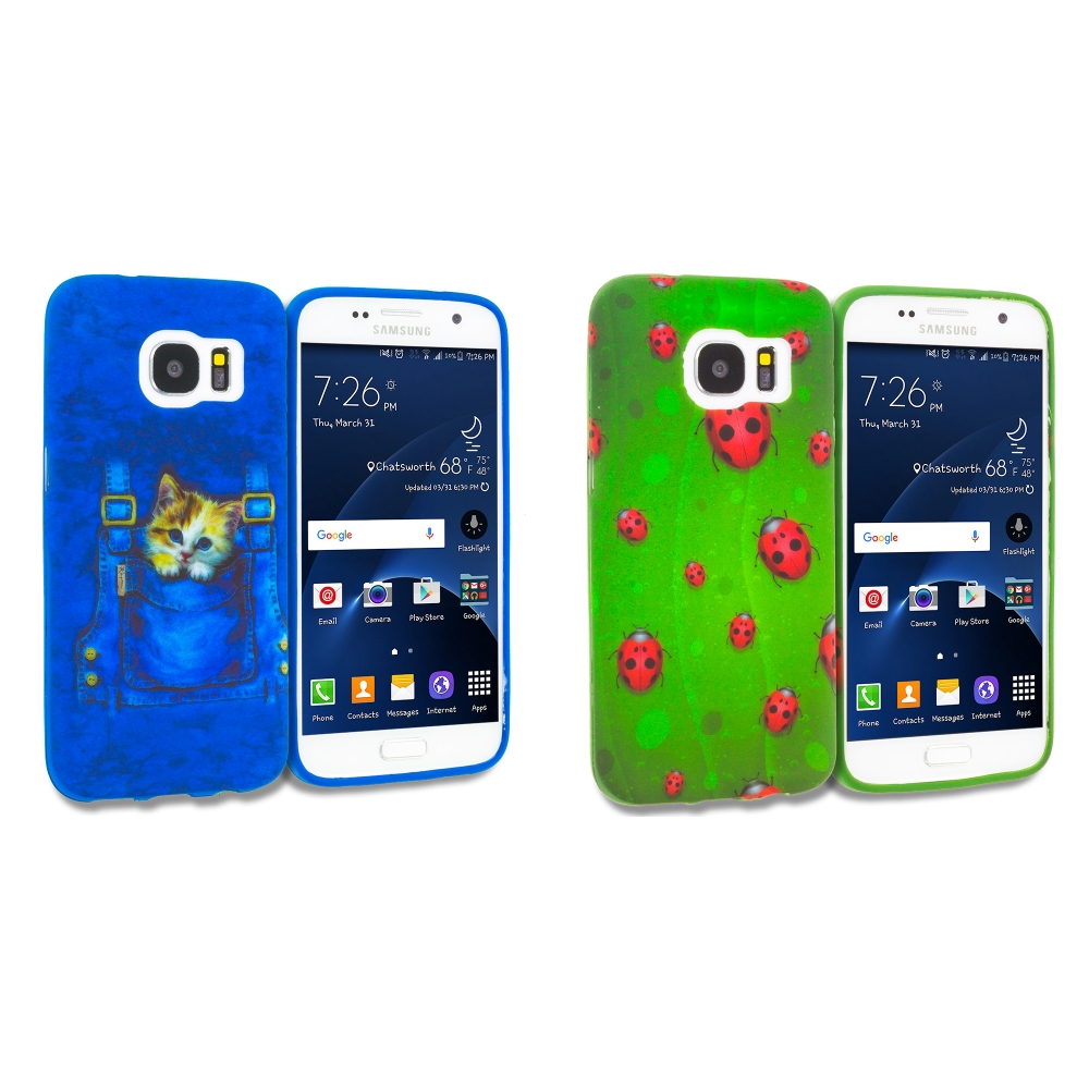 Samsung Galaxy S7 Combo Pack : Kitty Cat Jeans TPU Design Soft Rubber Case Cover