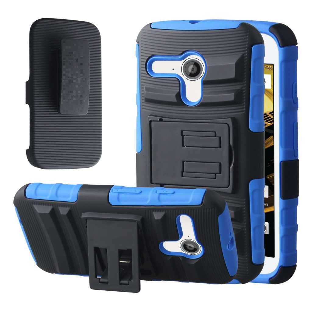 Motorola Moto E 2nd Generation - Blue MPERO IMPACT XT - Kickstand Case Cover