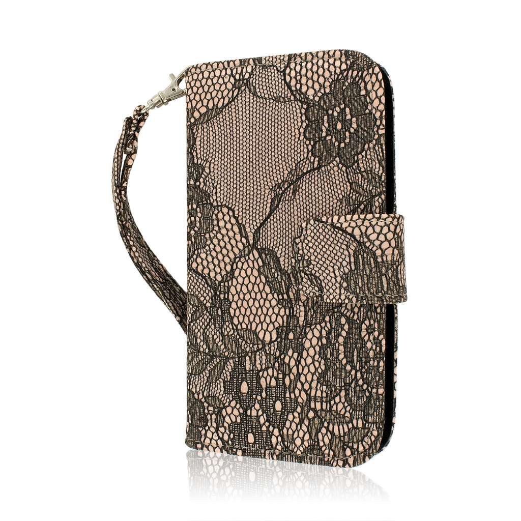 Samsung Galaxy S4 - Black Lace MPERO FLEX FLIP Wallet Case Cover