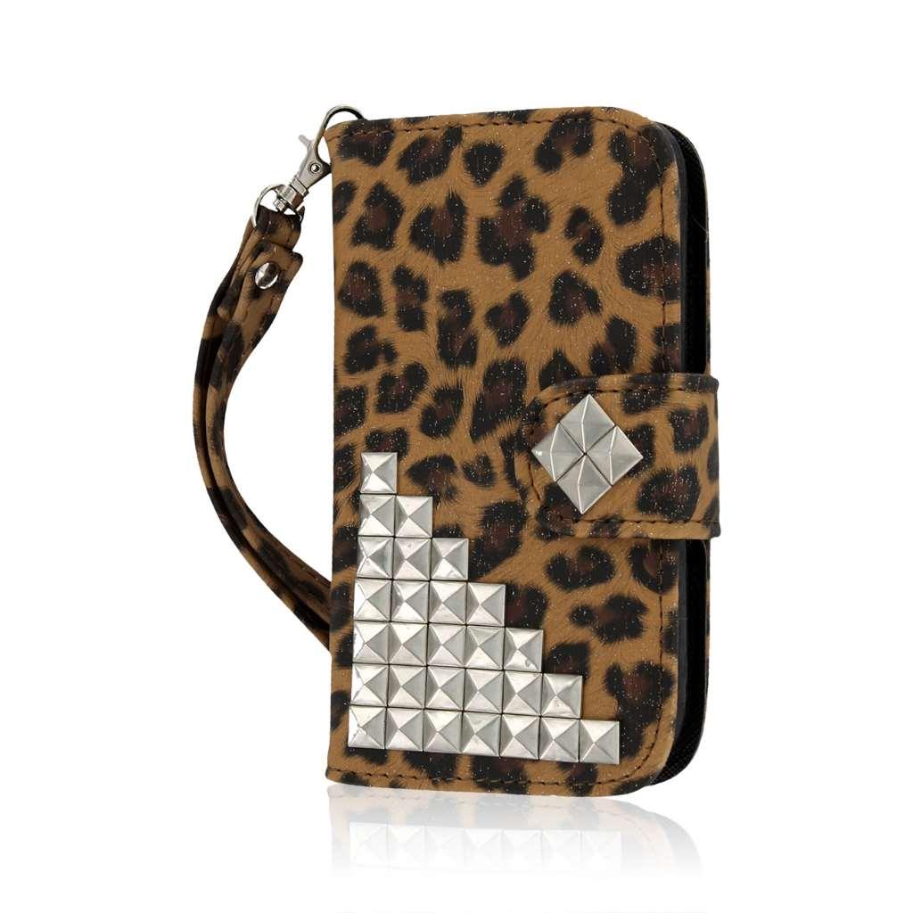 ZTE Concord 2 - Studded Leopard MPERO FLEX FLIP Wallet Case Cover
