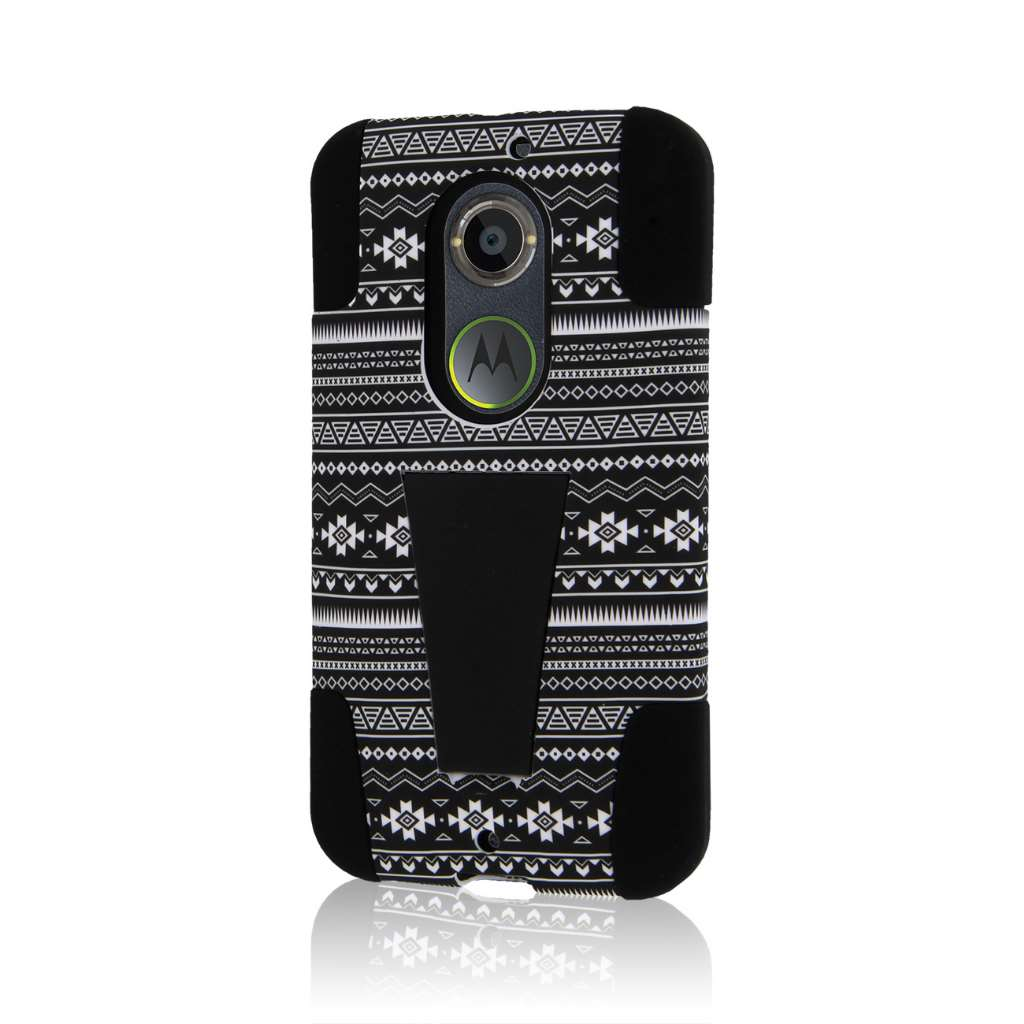 Motorola Moto X 2014 2nd Gen - Black Aztec MPERO IMPACT X - Kickstand Case