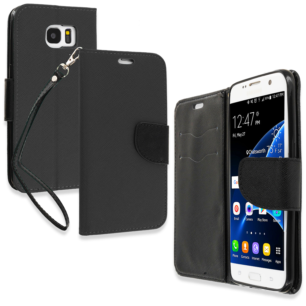 Samsung Galaxy S7 Edge Black / Black Leather Flip Wallet Pouch TPU Case Cover with ID Card Slots