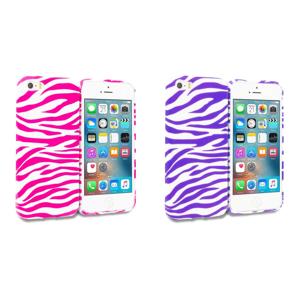Apple iPhone 5 Combo Pack : Pink / White Zebra TPU Design Soft Rubber Case Cover