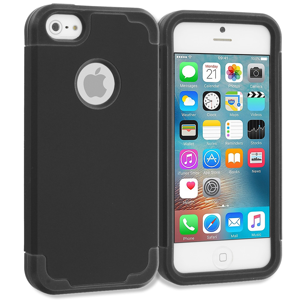 Apple iPhone 5/5S/SE Black / Black Hybrid Slim Hard Soft Rubber Impact Protector Case Cover