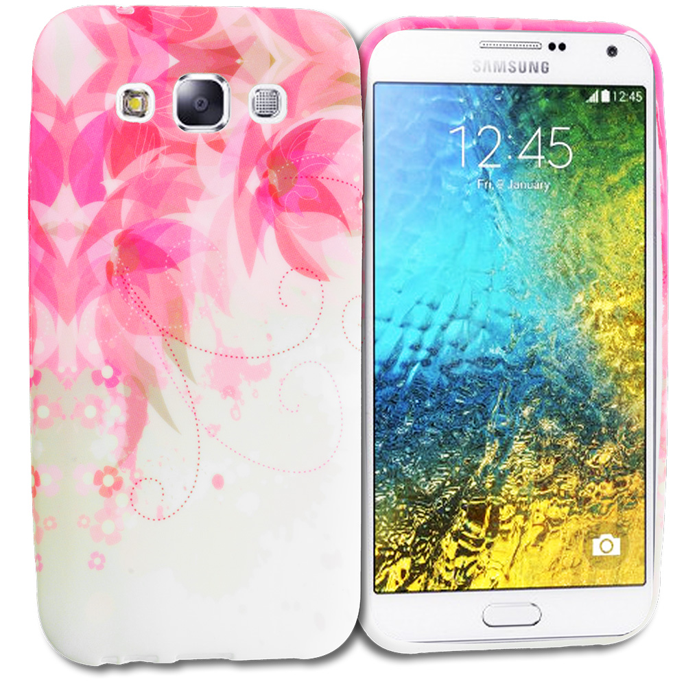 Samsung Galaxy E5 S978L Flower With Red Leaf TPU Design Soft Rubber Case Cover