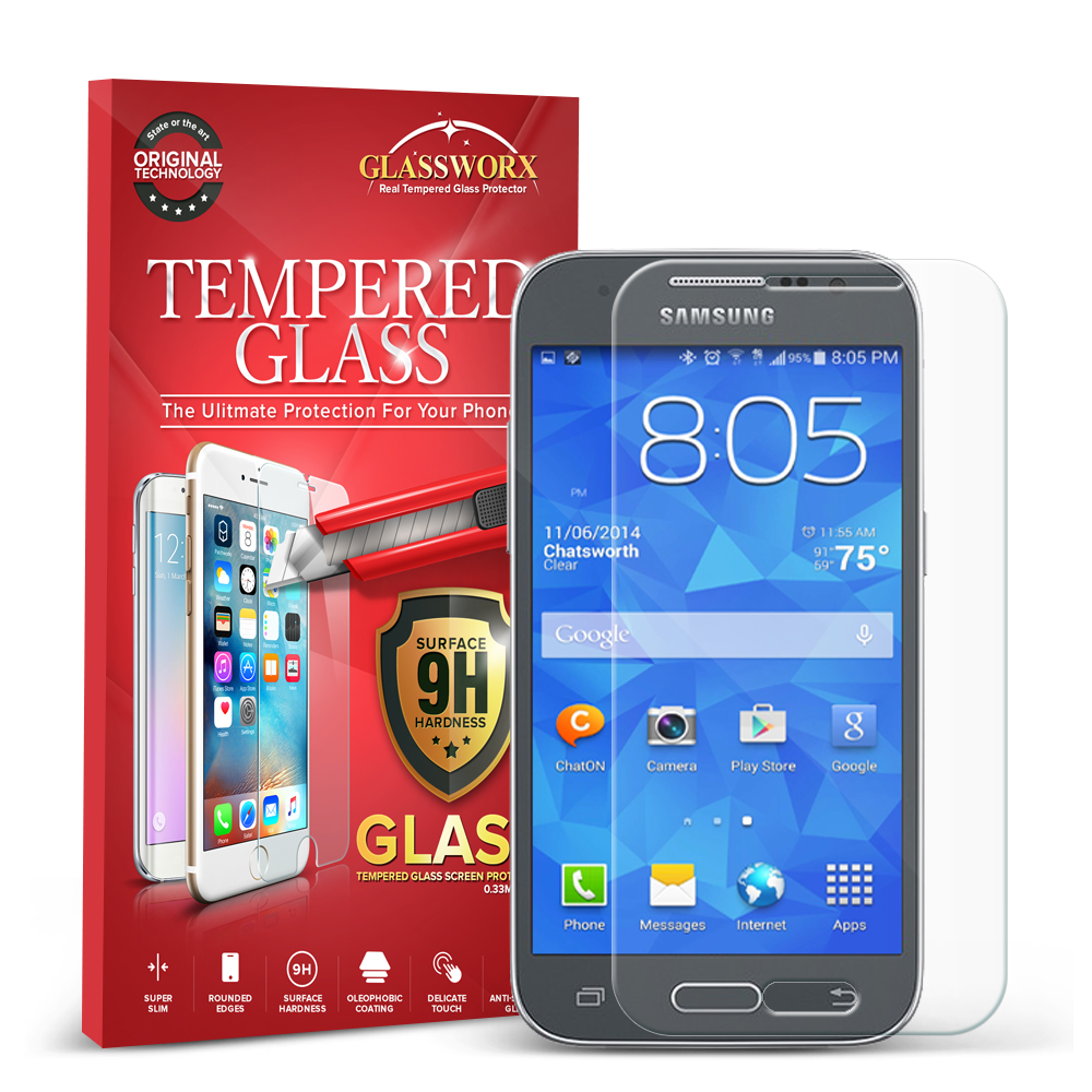 Samsung Galaxy Prevail LTE Core Prime G360P GlassWorX HD Clear Tempered Glass Screen Protector