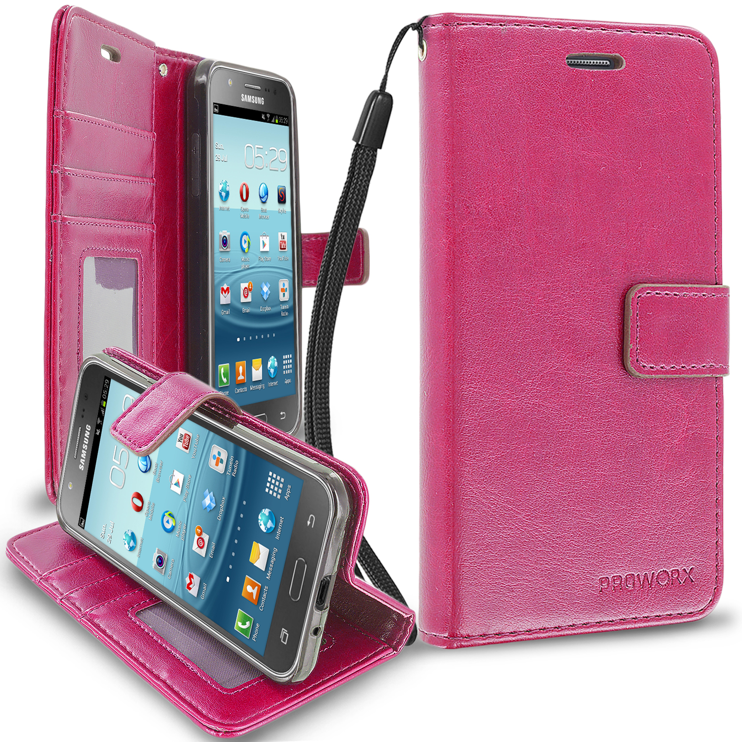 Samsung Galaxy J3 2016 Amp Prime Express Prime J3V Hot Pink ProWorx Wallet Case Luxury PU Leather Case Cover With Card Slots & Stand