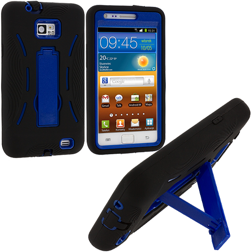 Samsung Galaxy S2 i9100 Black / Blue Hybrid Heavy Duty Hard/Soft Case Cover with Stand