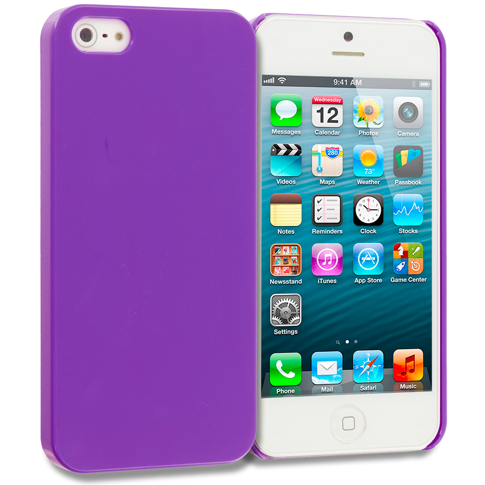 Apple iPhone 5/5S/SE 2 in 1 Combo Bundle Pack - Hot Pink Purple Solid Crystal Hard Back Cover Case : Color Purple Solid