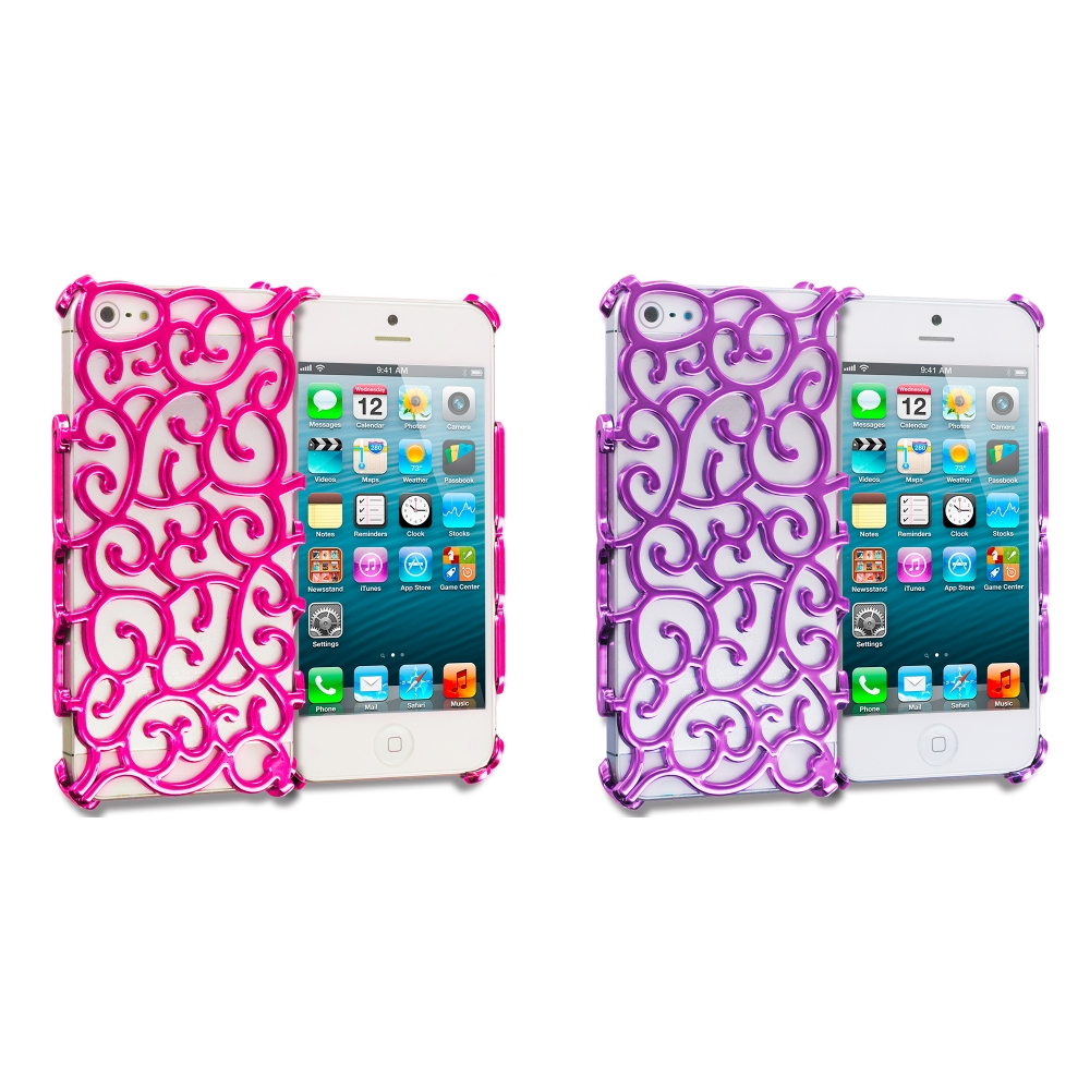 Apple iPhone 5/5S/SE Combo Pack : Hot Pink Floral Crystal Hard Back Cover Case