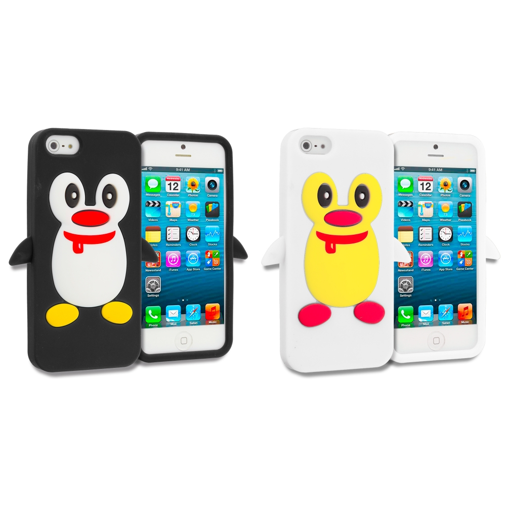Apple iPhone 5/5S/SE Combo Pack : Black Penguin Silicone Design Soft Skin Case Cover