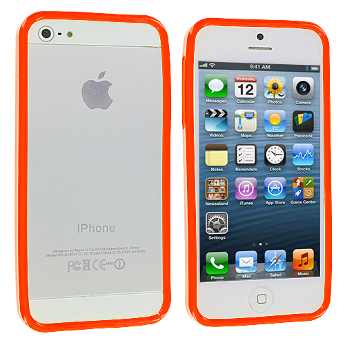 Apple iPhone 5/5S/SE Combo Pack : Red Solid TPU Bumper : Color Orange Solid