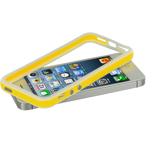 Apple iPhone 5/5S/SE Combo Pack : White / Orange TPU Bumper with Metal Buttons : Color White / Yellow