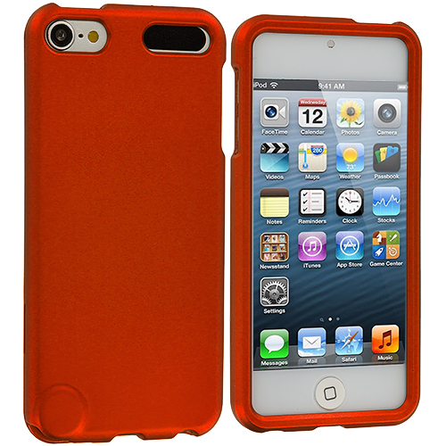 Apple iPod Touch 5th 6th Generation Orange Hard Rubberized Case Cover