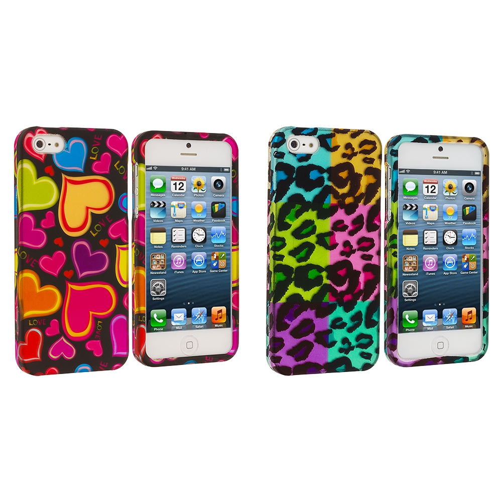 Apple iPhone 5/5S/SE Combo Pack : Rainbow Hearts Black Hard Rubberized Design Case Cover