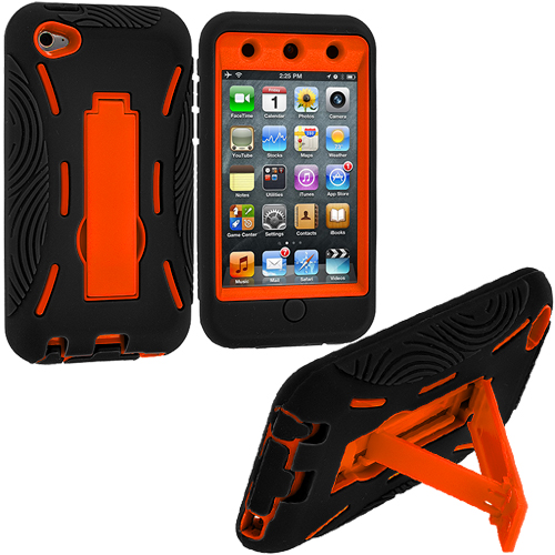 Apple iPod Touch 4th Generation Black / Orange Hybrid Heavy Duty Hard/Soft Case Cover with Stand