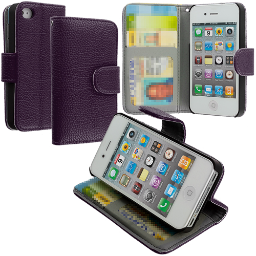 Apple iPhone 4 / 4S Purple Texture Leather Wallet Pouch Case Cover with Slots