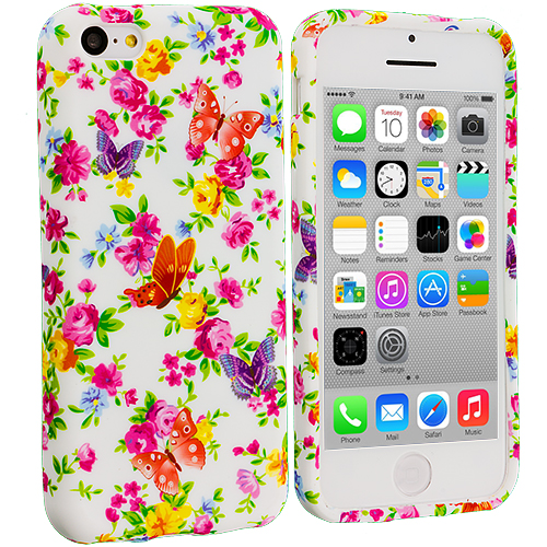 Apple iPhone 5C 2 in 1 Combo Bundle Pack - Colorful Flower TPU Design Soft Case Cover : Color Colorful Flower