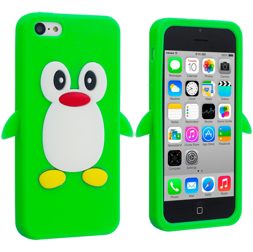 Apple iPhone 5C Neon Green Penguin Silicone Design Soft Skin Case Cover