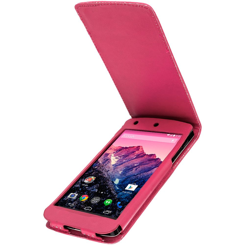 LG Google Nexus 5 Hot Pink Wallet Flip Pouch Folio Case Cover