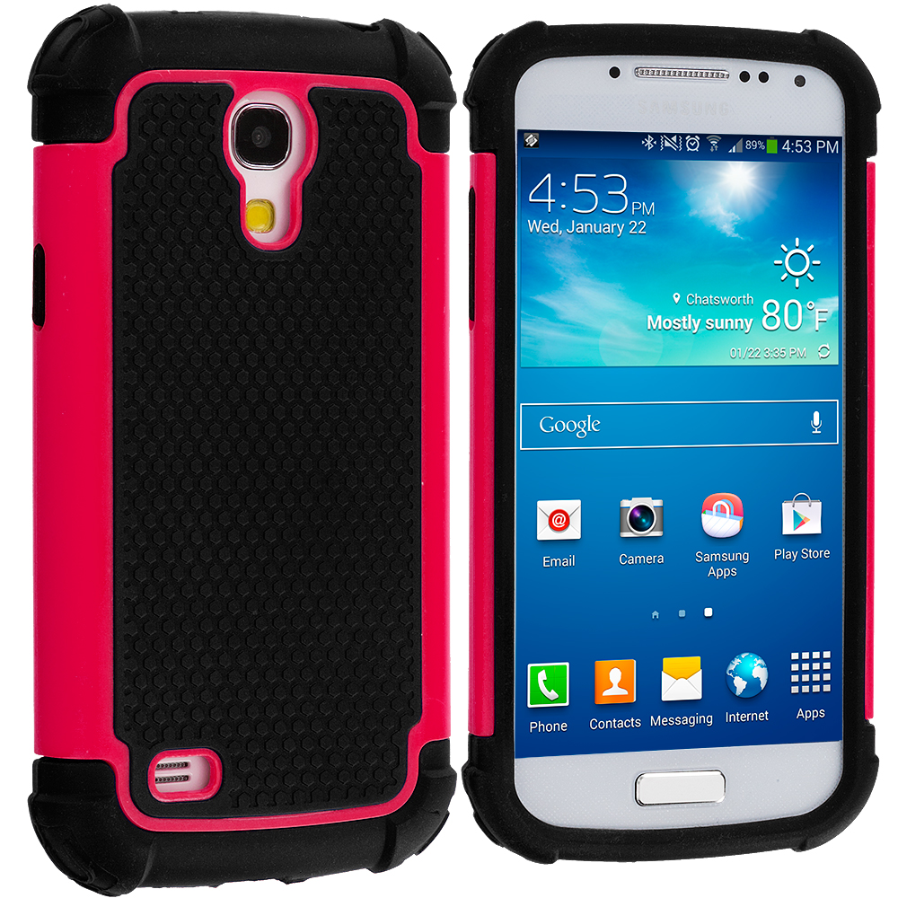 Samsung Galaxy S4 Mini i9190 Black / Hot Pink Hybrid Rugged Hard/Soft Case Cover