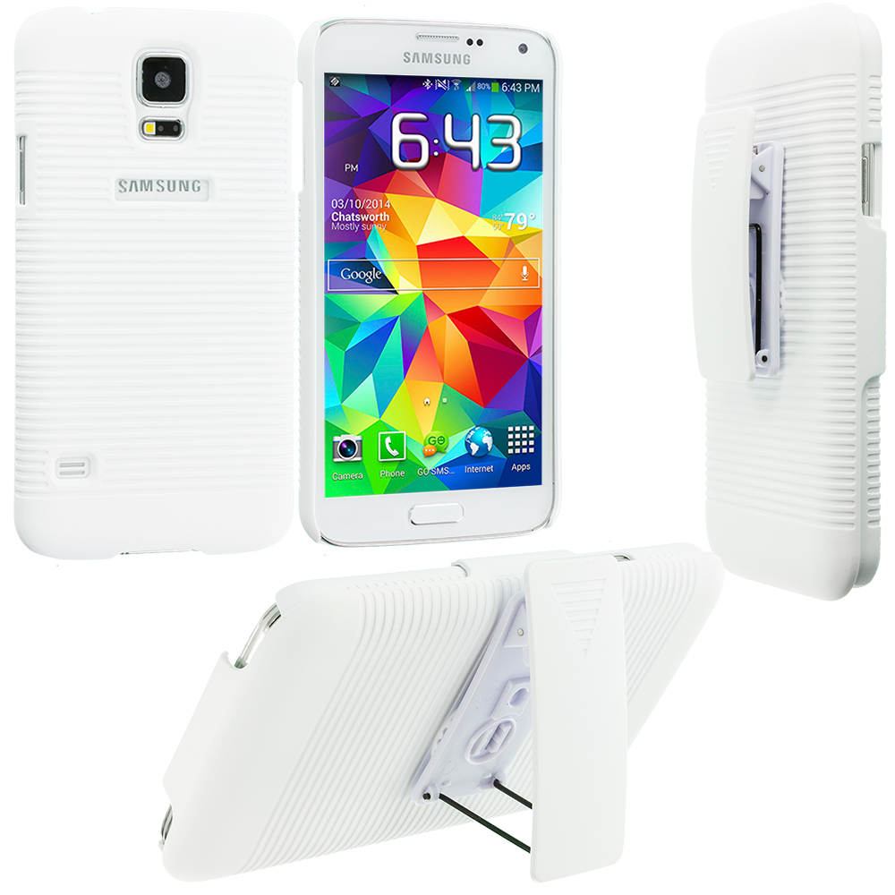 Samsung Galaxy S5 White Hard Rubberized Belt Clip Holster Case Cover