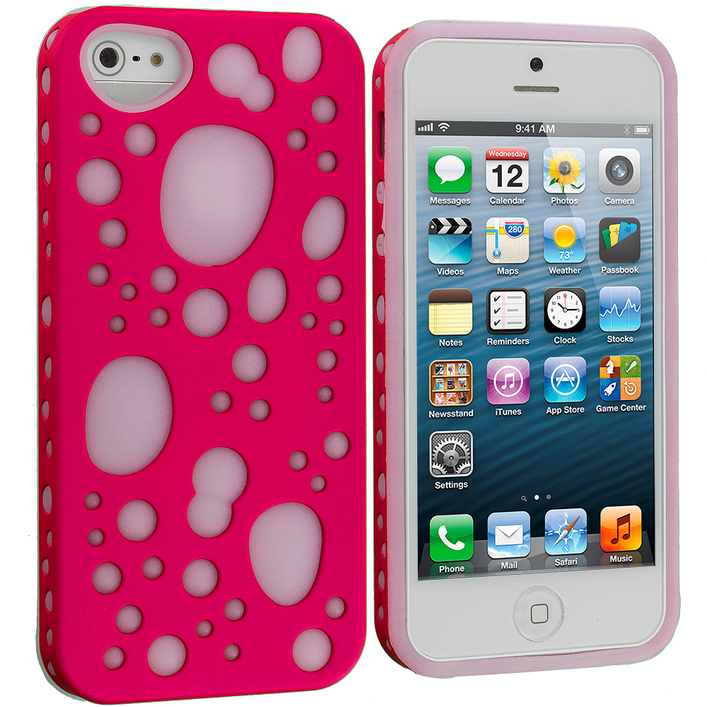 Apple iPhone 5/5S/SE Pink Hybrid Bubble Hard/Soft Skin Case Cover