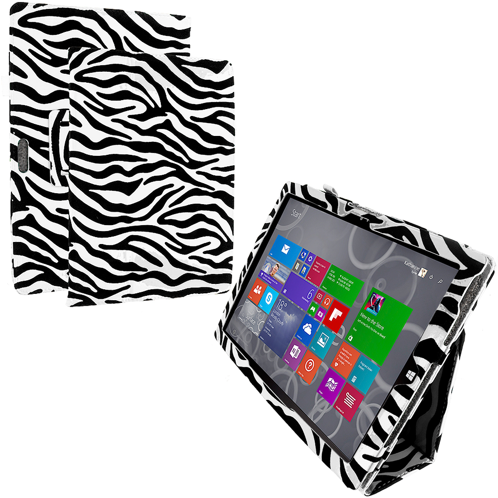 Microsoft Surface Pro 3 Black White Zebra Folio Pouch Flip Case Cover Stand