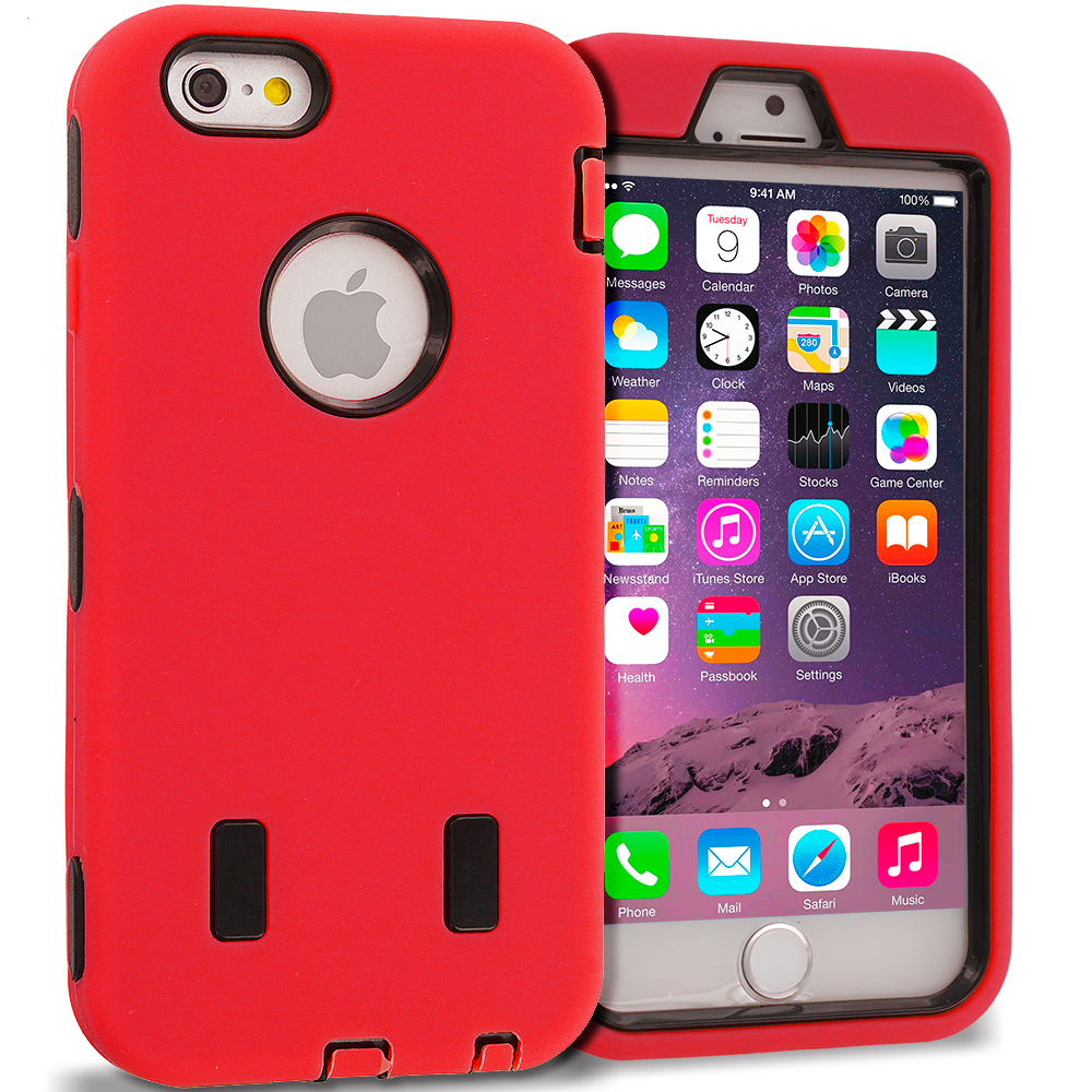 Apple iPhone 6 6S (4.7) Red / Black Hybrid Deluxe Hard/Soft Case Cover