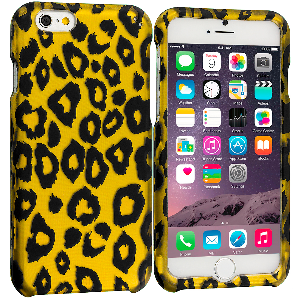 Apple iPhone 6 Plus 6S Plus (5.5) Black Leopard on Golden 2D Hard Rubberized Design Case Cover