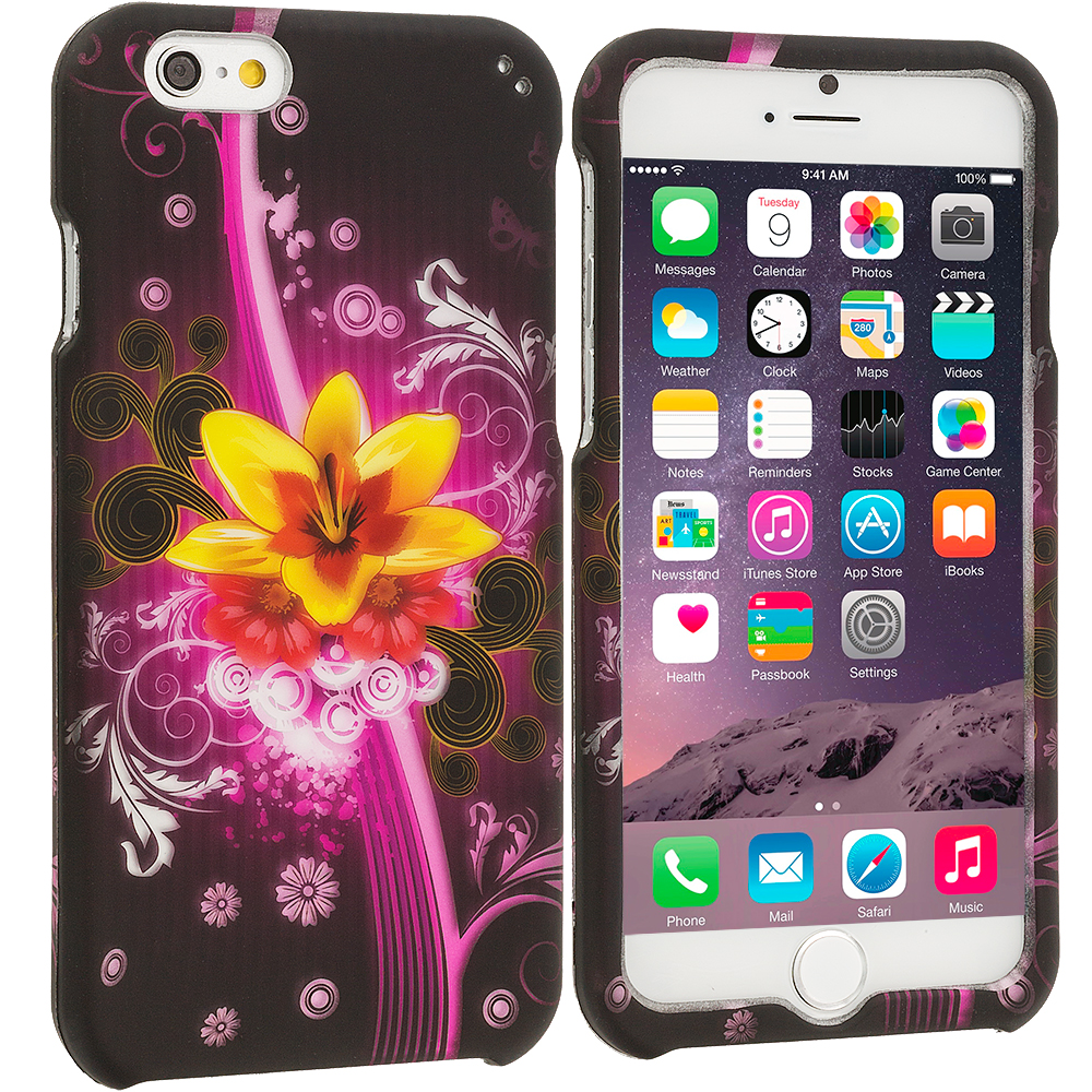 Apple iPhone 6 6S (4.7) Pink Flower Explosion 2D Hard Rubberized Design Case Cover