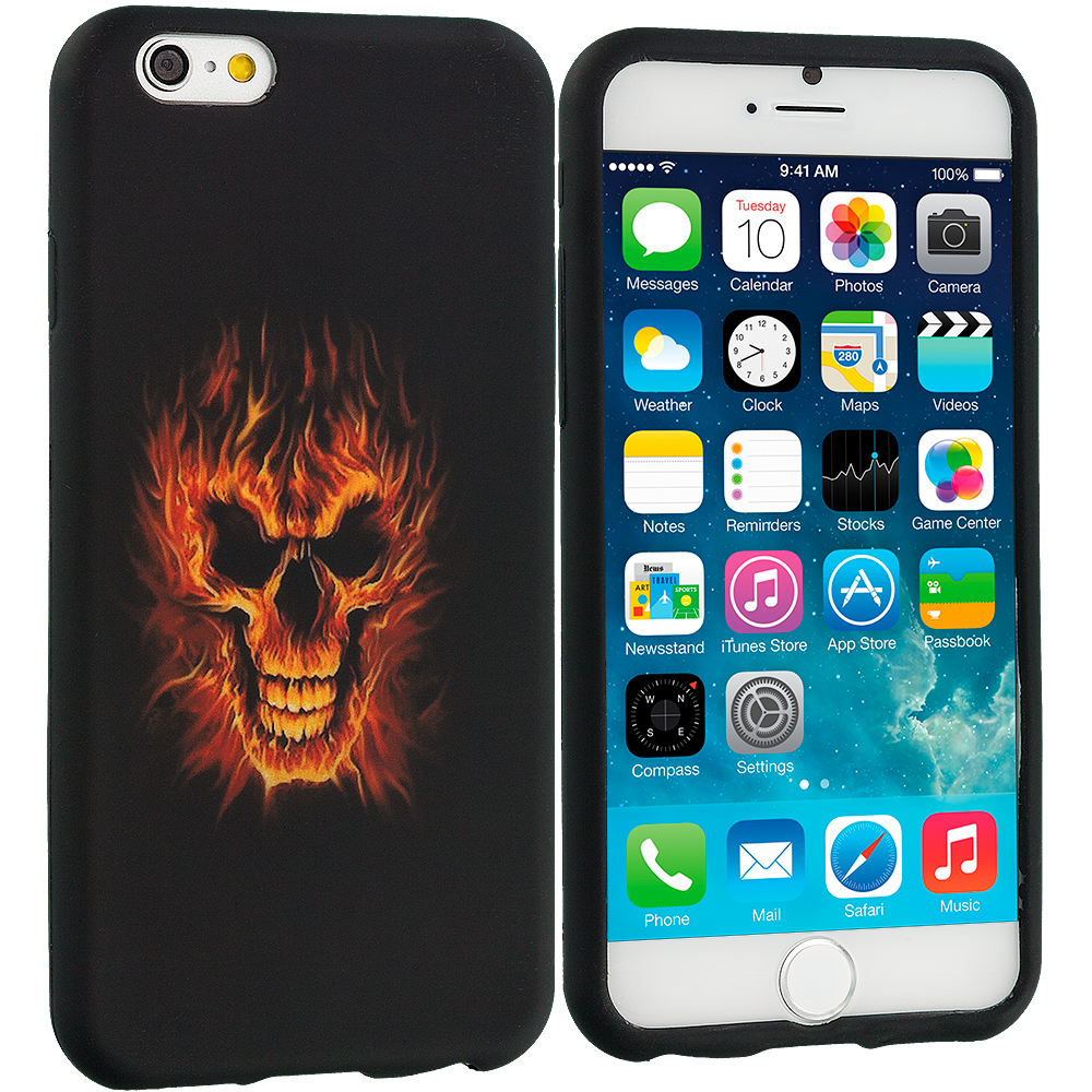 Apple iPhone 6 Plus 6S Plus (5.5) Flaming Skull TPU Design Soft Rubber Case Cover