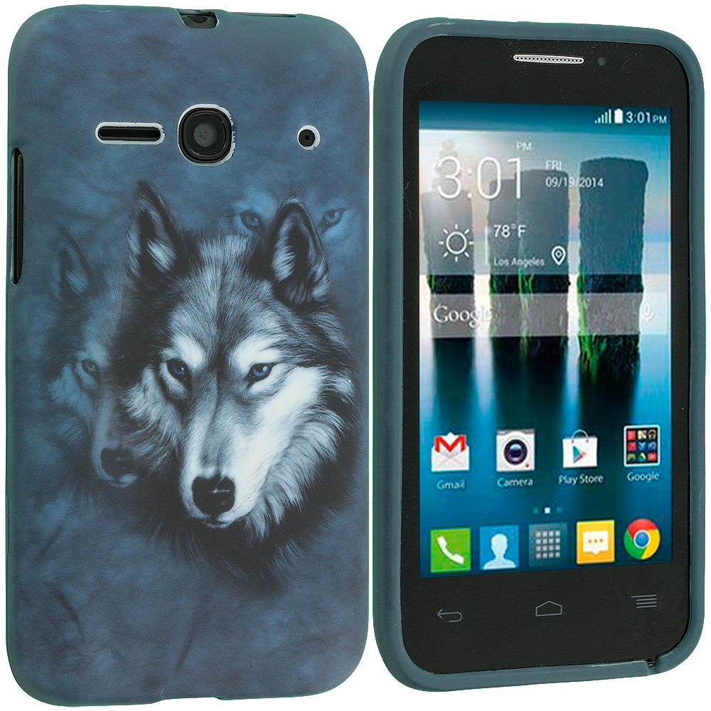 Alcatel One Touch Evolve 2 Wolf TPU Design Soft Rubber Case Cover