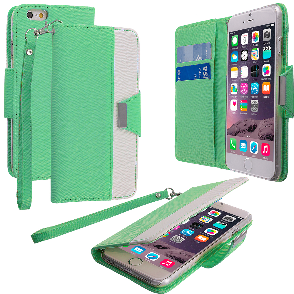 Apple iPhone 6 Plus Teal Wallet Magnetic Metal Flap Case Cover With Card Slots