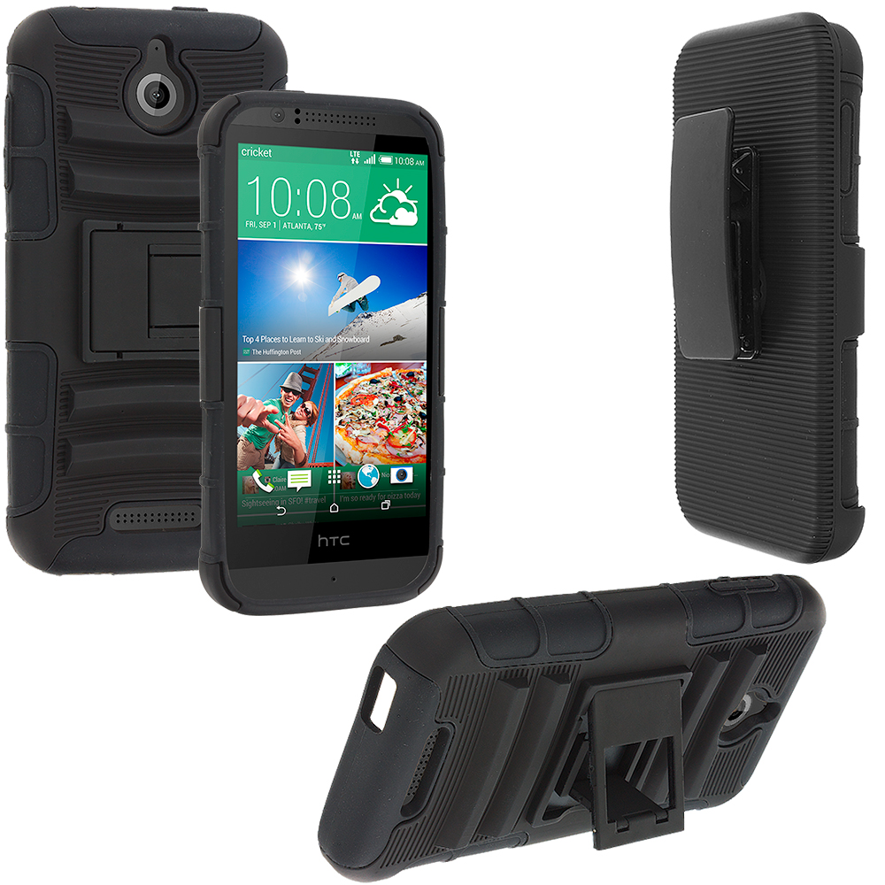 HTC Desire 510 Black Hybrid Heavy Duty Rugged Case Cover with Belt Clip Holster
