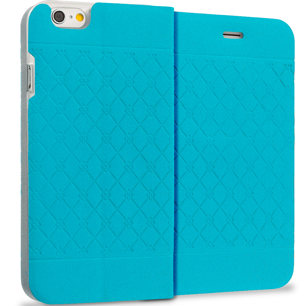 Apple iPhone 6 Plus 6S Plus (5.5) Teal Slim Wallet Plaid Luxury Design Flip Case Cover