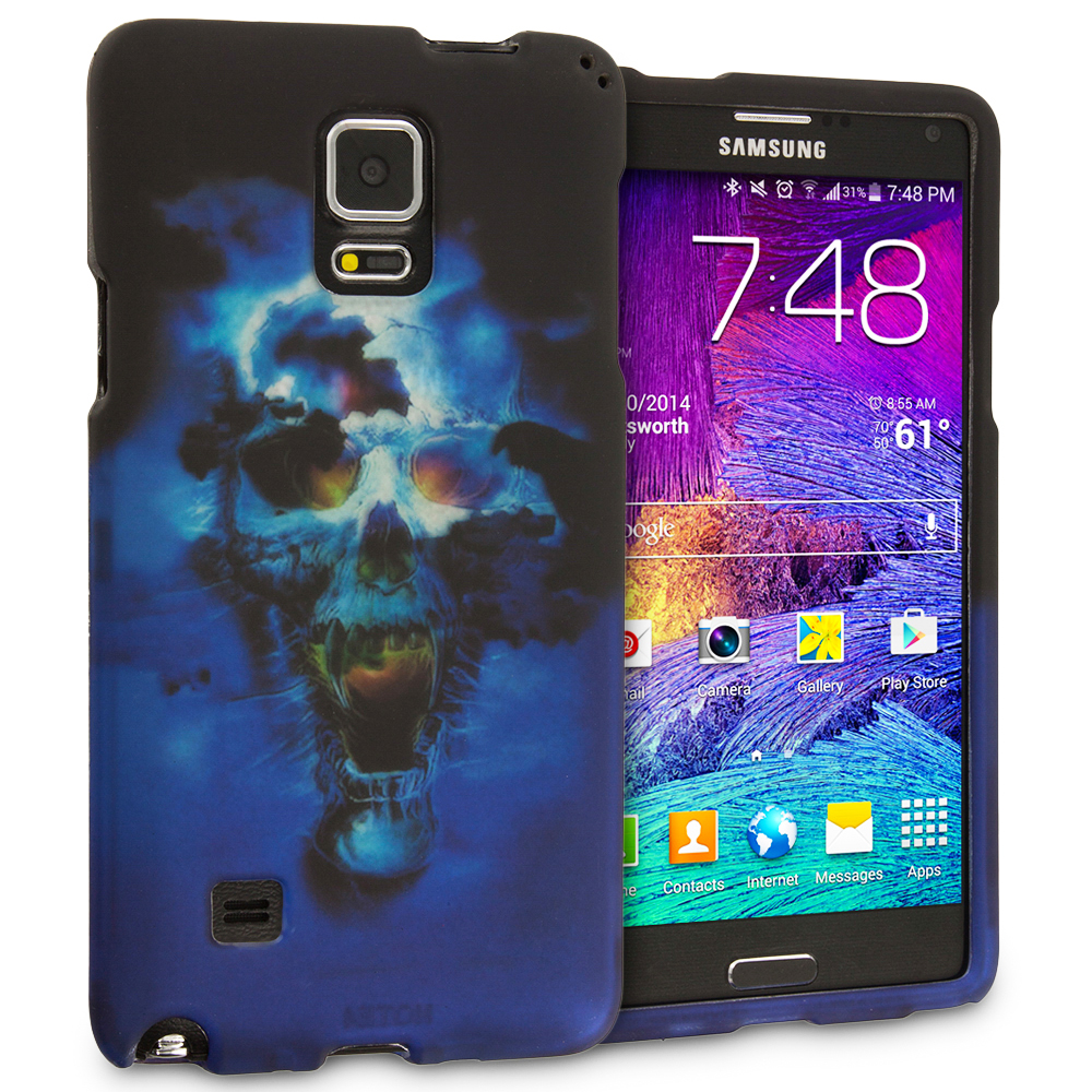Samsung Galaxy Note 4 Blue Skulls 2D Hard Rubberized Design Case Cover