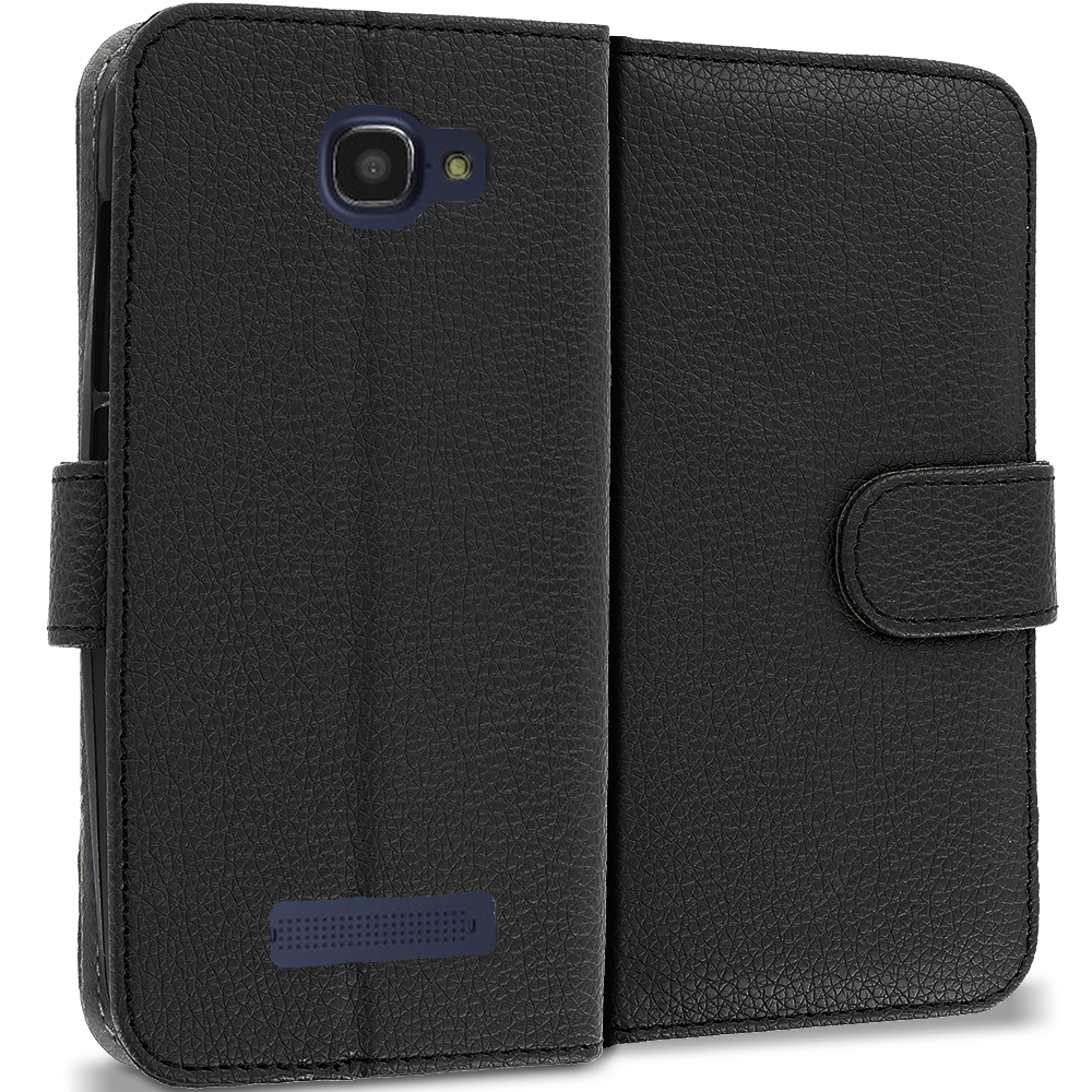 Alcatel One Touch Fierce 2 7040T Black Leather Wallet Pouch Case Cover with Slots