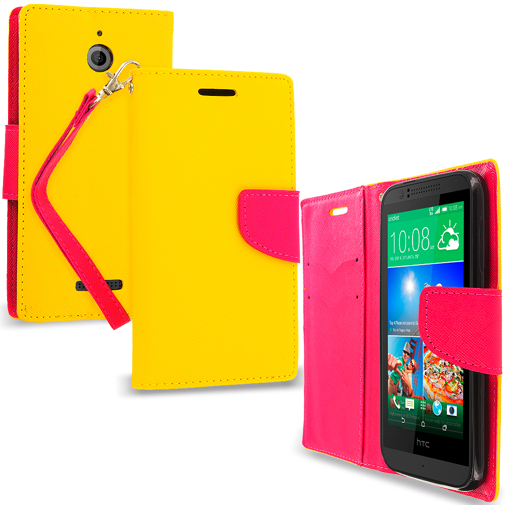HTC Desire 510 Yellow / Hot Pink Leather Flip Wallet Pouch TPU Case Cover with ID Card Slots