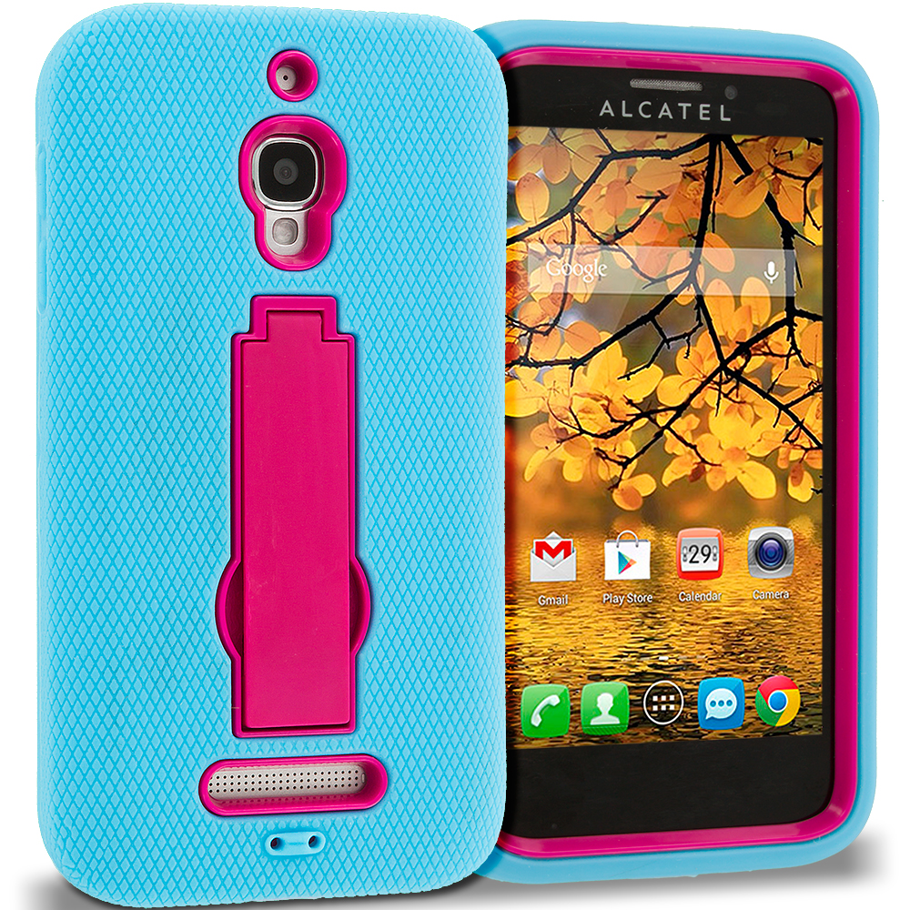 Alcatel One Touch Fierce 7024W Baby Blue / Hot Pink Hybrid Heavy Duty Hard Soft Case Cover with Kickstand