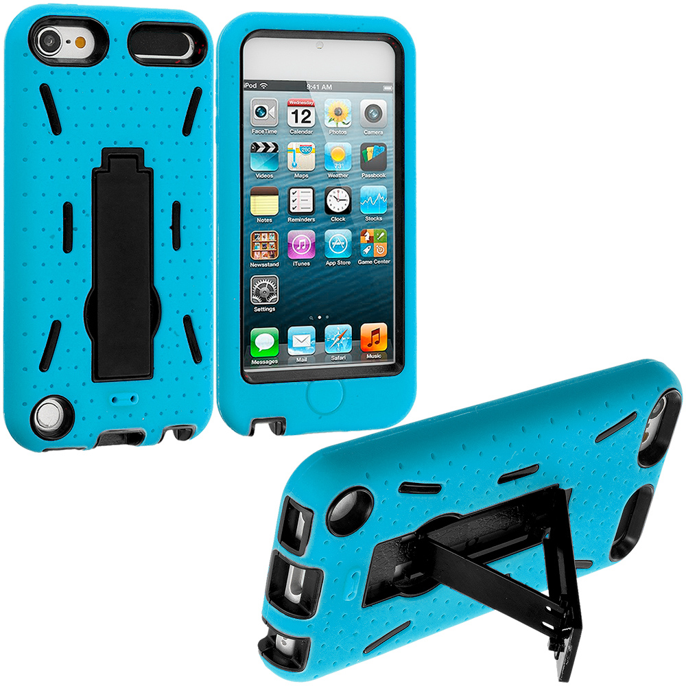 Apple iPod Touch 5th 6th Generation Baby Blue / Black Hybrid Heavy Duty Hard Soft Case Cover with Kickstand