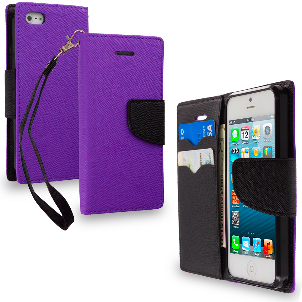 Apple iPhone 5/5S/SE Combo Pack : Hot Pink / Black Leather Flip Wallet Pouch TPU Case Cover with ID Card Slots : Color Purple / Black