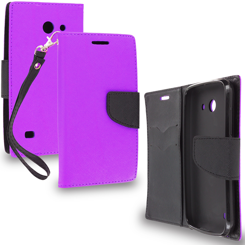 Huawei Tribute Fusion 3 Y536A1 Purple / Black Leather Flip Wallet Pouch TPU Case Cover with ID Card Slots