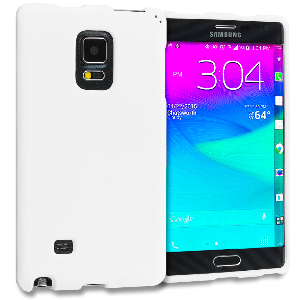 Samsung Galaxy Note Edge White Hard Rubberized Case Cover
